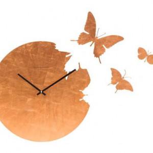 Ceas de perete Butterfly cu frunze de cupru