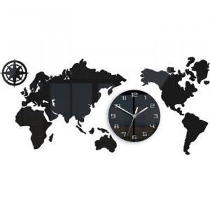 Ceas de perete Schrader XXL 80, alb/negru, 80 x 40 x 5 cm
