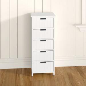 Comoda Boston cu 5 sertare, alb, 84cm H x 35cm W x 28cm D