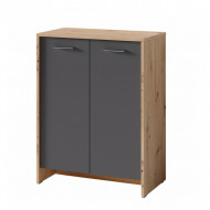 Comoda Edgeworth PAL/plastic, negru/maro, 63 x 83 x 35 cm