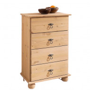 Comoda Finca 4 sertare, lemn masiv de pin/metal/MDF, maro, 50 x 30 x 80 cm
