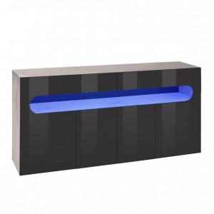 Comoda Places of Style, functie push-to-open, beton/antracit, 160 x 81 x 42 cm