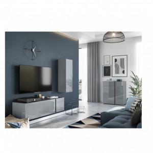 Comoda TV Mesa I sticla/PAL, gri, 140 x 39 x 43 cm