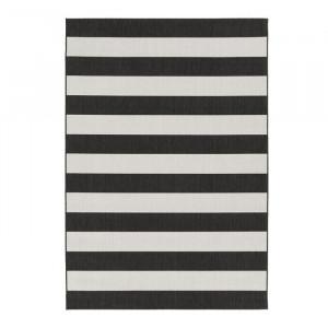 Covor Cecil, polipropilena/poliester, alb/negru, 80 x 150 cm