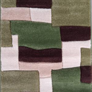 Covor Cora verde / crem, 60 x 90cm