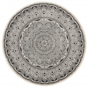 Covor rotund Hizan, crem/negru, 120 cm