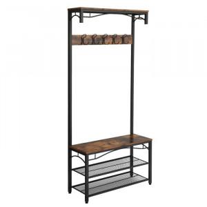 Cuier Jenifer, metal/lemn, gri inchis, 178,5 x 80 x 30 cm