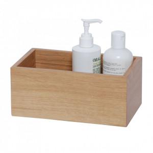 Cutie din lemn Mezza pentru cosmeticele din baie, maro, 23 x 10 x 14 cm