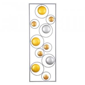 Decor de perete Sikar, galben/argintiu, 90 x 32 cm