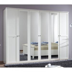 Dressing Aibek, 6 usi/ 4 oglinzi, alb, 210 x 270 x 58 cm