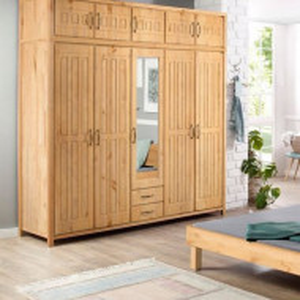 Dressing Antresole Home Affaire, lemn masiv, 5 usi, 1 oglinda, 190 x 220.5 x 60 cm