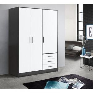 Dressing Shoaf - MDF /PAL - negru /alb - 200cm H x 144,6cm W x 60cm D