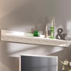 Etajera Laura lemn masiv pin/metal, alb, 130 x 15 x 15 cm