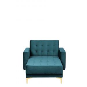 Fotoliu ABERDEEN, catifea, verde, 107 x 168 x 83 cm