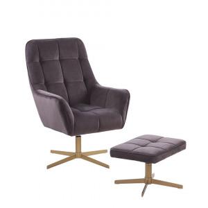 Fotoliu cu scaun pentru picioare Molle, gri/maro, 60 x 82 x 104 cm