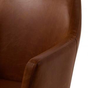Fotoliu Nicholas I cu suport din lemn masiv si capac din piele sintetica, maro ciocolatiu