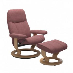 Fotoliu reclinabil cu scaun pentru picioare Consul, roz inchis/maro, 85 x 100 x 77 cm