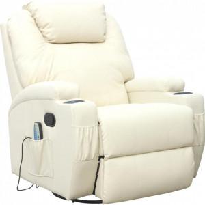 Fotoliu recliner Cinemo, cu masaj, incalzire, rotativ si cu suport pentru bauturi, piele naturala, crem