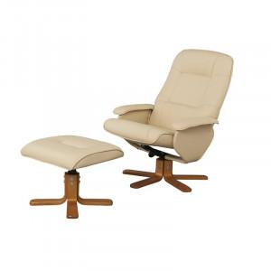 Fotoliu recliner cu scaun pentru picioare Quercia, crem/bej, 98 x 76 x 80 cm