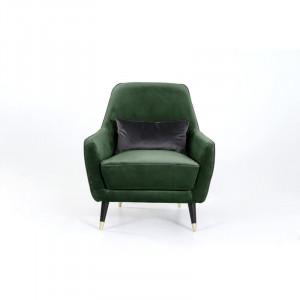 Fotoliu Tomlin, catifea, verde, 86 x 77 x 80 cm