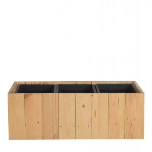 Ghiveci Trikala, lemn masiv, maro, 66 x 24 x 24 cm