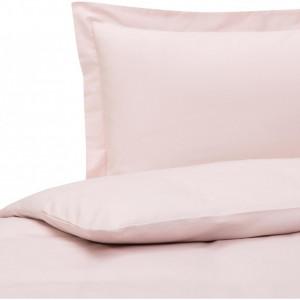 Lenjerie cu husa de plapuma din satin de bumbac roz premium, 155 x 200 cm