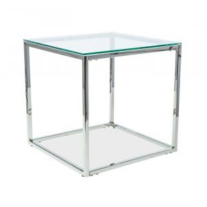 Masa de cafea Jolien, sticla/metal, 55 x 55 x 55 cm