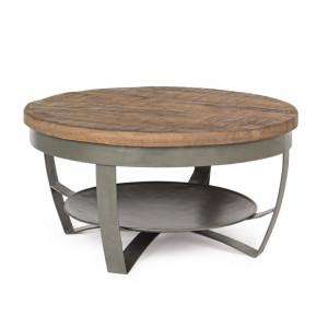 Masa de cafea Lyerly, lemn masiv/metal, 34 x 65 x 65 cm