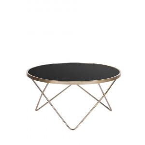 Masa de cafea Meridian II, negru/auriu, 40 x 80 x 80 cm