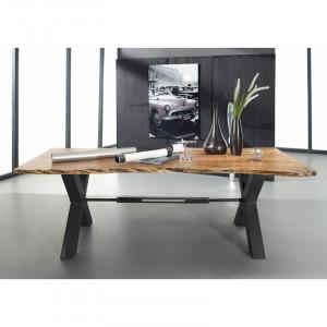 Masa Label, lemn masiv/metal, maro/antracit, 220 x 100 x 76 cm