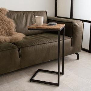Masa laterala Pineda, maro/negru, 43 x 38 x 32 cm