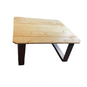 Masuta de cafea Coventry lemn masiv de brad/metal, maro/negru, 89 x 42 x 80 cm