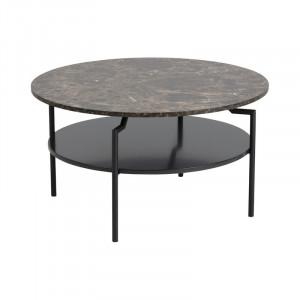 Masuta de cafea Truro, efect de marmura, metal/ MDF, maro/negru, 45 x 80 x 80 cm