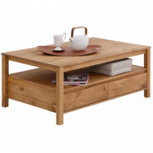 Masuta dreptunghiulara de cafea Kubo din lemn masiv de pin, maro, 1 sertar, 110 x 70 x 45 cm