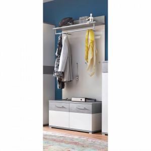 Mobilier de hol Nerola V 3 piese, Pal/tesatura, alb/gri, 96 x 200 x 40 cm