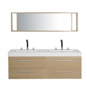 Mobilier pentru baie Malaga cu oglindă, MDF, natural