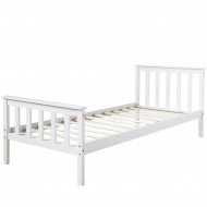 Pat pentru copii Lucy, lemn masiv, alb, 82 x 96 x 206 cm