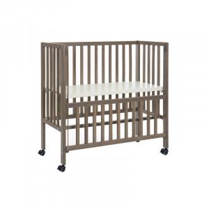 Pătuț bebe din lemn masiv de fag, gri, 95,5 x 95 x 46,5 cm