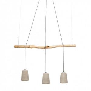 Pendul Dining Concrete ceramica/lemn de pin, 3 becuri, bej, 230 V