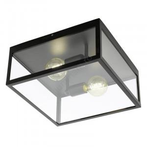 Plafoniera, metal/sticla, neagra, 36 x 16 x 36 cm
