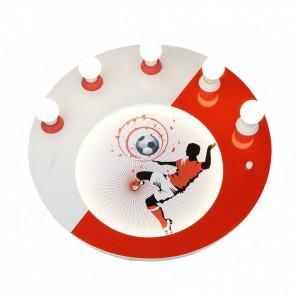 Plafoniera Soccer 5/54 lemn, alb-rosu, 5 becuri, 230 V