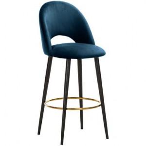 Scaun de bar Rachel din catifea albastru inchis, H 110 cm