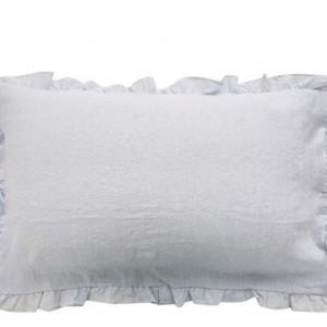 Set 2 fețe de pernă cu volanase ondulate Puro lino gri perlat, 50x80 cm