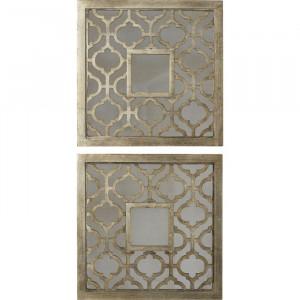 Set de 2 oglinzi Taunton, 51x51x3 cm, lemn, argintiu antic