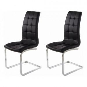 Set de 2 scaune Alexia, tapitate, negru/argintiu, 104 x 55 x 42,5 cm
