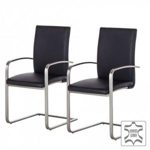 Set de 2 scaune Augusta I din piele naturala/otel inoxidabil, negru/argintiu, 44 x 98 x 58 cm