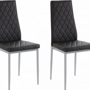 Set de 2 scaune Brooke piele sintetica, negru