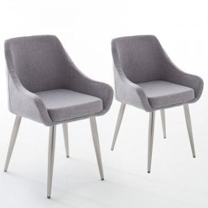 Set de 2 scaune Cangelosi, poliester, gri, 84 x 54 x 63 cm