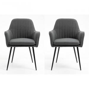 Set de 2 scaune Condrey, tapitate, gri inchis, 84 x 57 x 56 cm