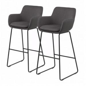 Set de 2 scaune de bar Borris - tesatura/metal - gri/negru
